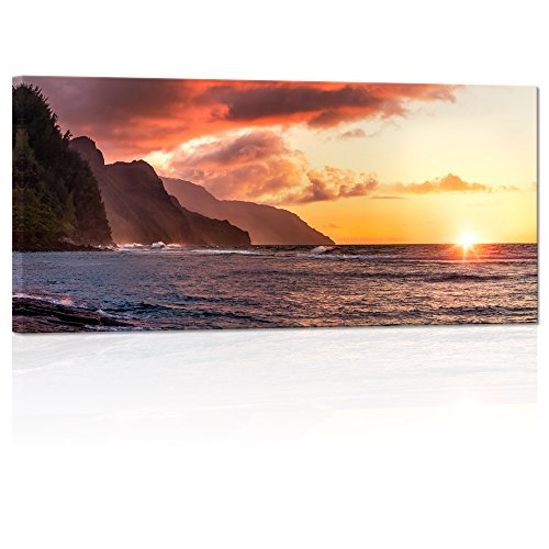(Visual Art Decor Large Tropical Hawaii Sea Napali Coast Sunset Scene Canvas Wall Art Framed and Stretched Picture Prints Living Room Decoration(01 napali Sunset) )