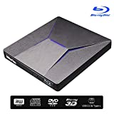 External Bluray DVD Drive, MthsTec USB 3.0 and Type-C Blu-Ray DVD Burner 3D 4K Slim Optical Bluray CD DVD Drive Compatible with Windows XP/7/8/10, MacOS, Linux for Macbook, Laptop, Desktop