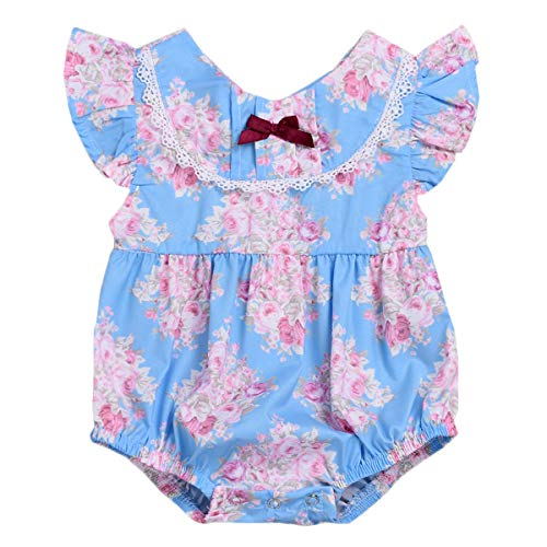 (Newborn Summer Outfits Baby Girls Vintage Floral Ruffle Romper Sleeveless Bodysuits Jumpsuit Sunsuits (12-18 Months, Blue))