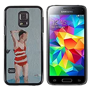 A-type Colorful Printed Hard Protective Back Case Cover Shell Skin for Samsung Galaxy S5 Mini / Samsung Galaxy S5 Mini Duos / SM-G800 !!!NOT S5 REGULAR! ( Bathing Suit Woman Art Painting Red )