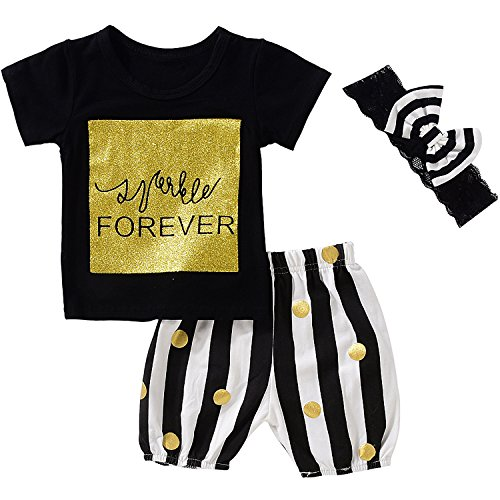 Baby Girls Cute Gold Letters Print Short Sleeve T-shirt+Striped Shorts+Headband size 2-3 Years/100cm (Black) (Gold Black Headband Striped)