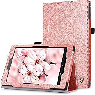 BENTOBEN Case for Fire HD 8 (2018/2017/2016 Release, 8th/7th/6th Generation) Glitter Sparkly Folio Folding Kickstand Smart Cover with Stylus Holder & Auto Wake/Sleep for Amazon Fire HD 8, Rose Gold