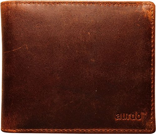 AurDo RFID Blocking Extra Capacity 16 Card Trifold Bifold Mens Wallet With ID Window, High-End Build (Oil Pull-up Dark Brown)