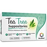 Nutrablast Tea Tree Oil Suppositories (12 Count) | All Natural Intimate Deodorant for Women | Restore Feminine pH Balance | Made in USA