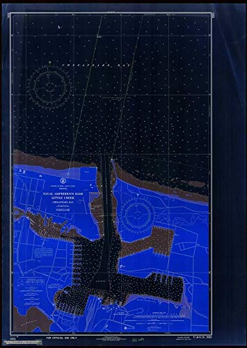 Vintography Blueprint Style 8 x 12 Nautical Map of Naval Amphibious Base : Little Creek 0 US Coast & Geodetic Survey 35a ()