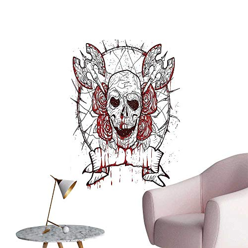 Wall Decoration Wall Stickers Blood with Red Rose and Cross Axes on Foreground of Tribal Circle Merry Print Artwork,32