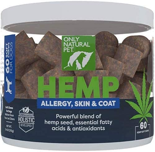 Only Natural Pet Allergy, Skin Coat Hemp Soft Chews – with Omega 3 Fish Oil EPA DHA Essential Fatty Acids, Bromelain, Quercetin Mushroom Extract – Immune Supplement for Dogs