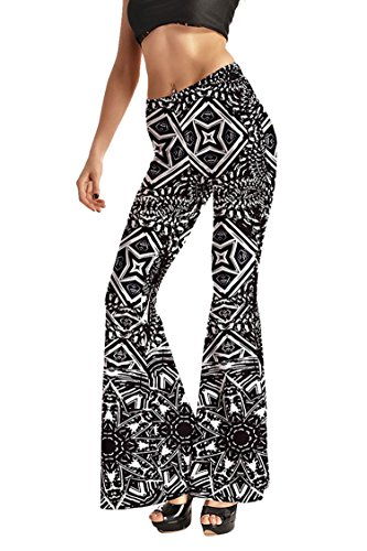 Pink Queen Womens All Over Printed Bell Bottom Flare Pants Leggings, Pattern 16, L(US M)
