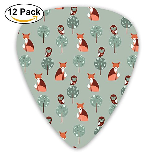 Fox Pattern Guitar Picks 12pack Celluloid Plectrum Custom 0.46mm/0.71mm/0.96mm For Electric Acoustic Guitars Bass Best Stocking Stuffer Gifts For Kids Teens Adults (Fox Womens Body Rock)