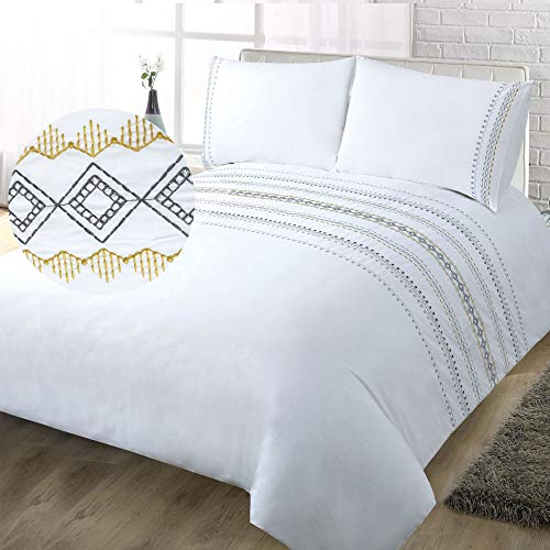 YINFUNG King Size Duvet Cover Set 3PC Bed Duvet Set Embroidered White Quilt...