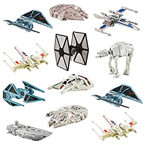 Hot Wheels Star Wars (12 Pack) Spaceship Models Toys Set Figures & Stands Mattel