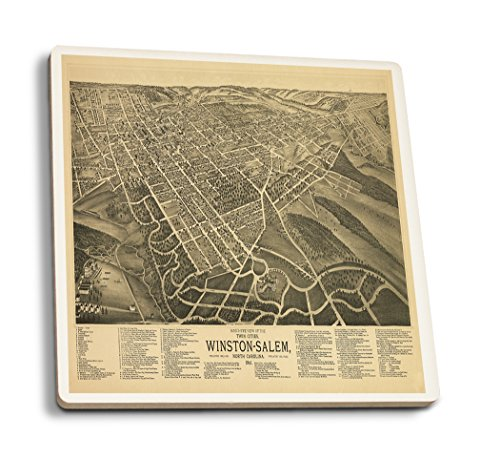 Winston Salem North Carolina Map (Winston-Salem, North Carolina - (1891) - Panoramic Map (Set of 4 Ceramic Coasters - Cork-backed, Absorbent))