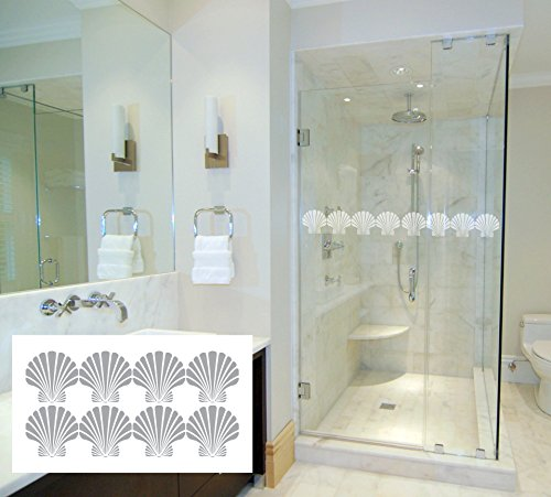 (8 Scalloped Sea Shells - Coastal Design Series - Etched Decal - For Shower Doors, Glass Doors and Windows )