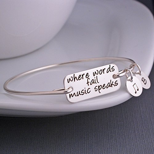 (Silver Where Words Fail Music Speaks Bangle Bracelet, Personalized Music Jewelry)