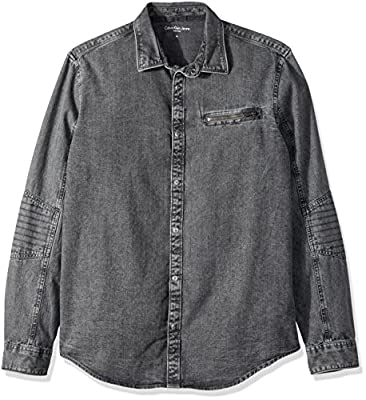 Calvin Klein Jeans Men's Long Sleeve Biker Denim Button Down Shirt