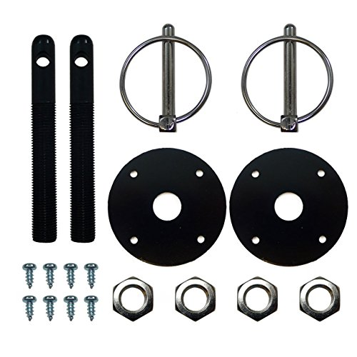 Motornets Black Aluminum Hood Pin Kit Flip Over Chevy Ford GM Hot Rod Muscle car Drag Race