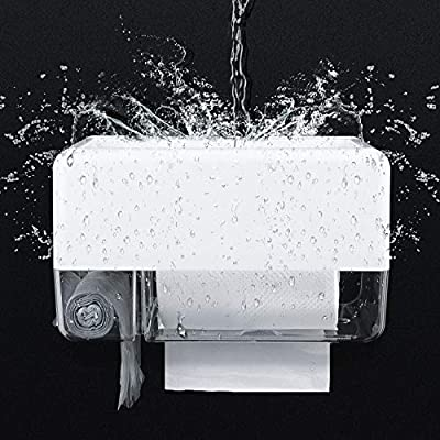Toilet Paper Holder, WOVTE Free Punching Installation Waterproof Toilet Paper Roll Holder with Mobile Phone Garbage Bag Storage for Bathroom?Kitchen ,Living Room- White