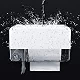 Toilet Paper Holder, WOVTE Free Punching Installation Waterproof Toilet Paper Roll Holder with Mobile Phone Garbage Bag Storage for Bathroom,Kitchen ,Living Room- White