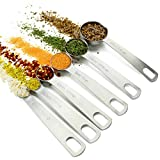 K Basix Heavy duty Round Measuring Spoons - 18/8 Stainless steel spoons set of 7, 6 spoons and 1 leveler, for Dry or Liquid measurements