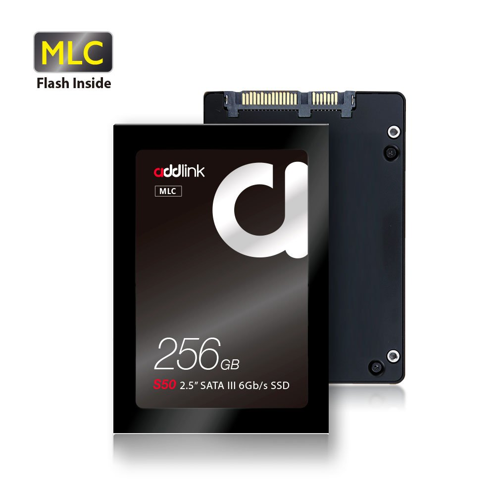 addlink S50 SSD 256GB MLC SATA III 6Gb/s 2.5-inch / 7mm Internal Solid State Drive with Read 550MB/s Write 500MB/s (MLC 256GB)