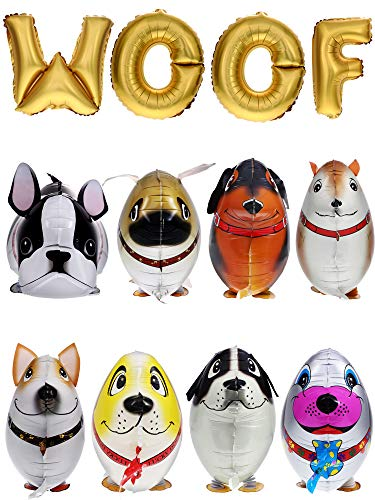 Gejoy 12 Pieces Walking Animal Balloons Pet Dog Balloons WOOF Letter Balloons Dog Birthday Themed Party Decorations Supplies -
