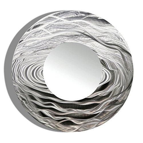 40.5-inch Jon Allen Metal Round Decorative Wall-Mounted Mirror, Silver (Mirrors Wall Huge)