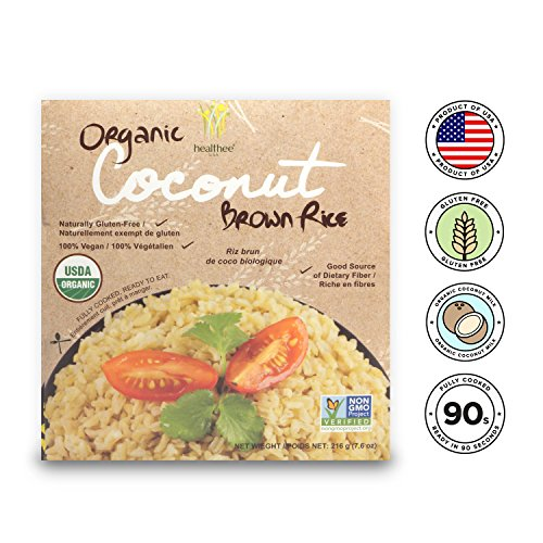 - Healthee Organic Brown Rice, Gluten Free, Fully Cooked and Ready-to-Eat, USDA Certified Organic, GMO-Free, Microwaveable (Coconut, Pack of 4)