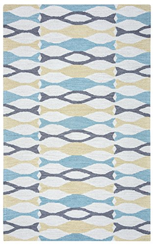 Rizzy Home Arden Loft/Easley Meadow Collection EM9421 Handtufted 100% Wool Area Rug 9' x 12' Light Gray/Aqua ()
