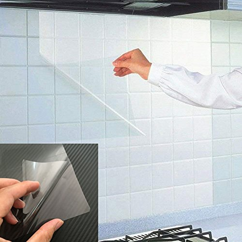 BESTERY Kitchen Backsplash Wallpaper Stickers Waterproof Oilproof High Temperature Resistant Transparent Environment-Friendly PVC