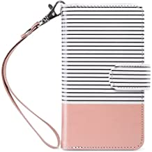 iPhone 8 Case, iPhone 7 Wallet Case, ULAK PU Leather iPhone 7 & 8 Wallet Case with Credit Card Slot Magnetic Closure Flip Wallet Case Cover for Apple iPhone 7/8 4.7 inch - Rose Gold/Black Stripe