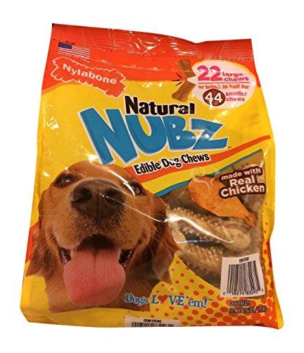 Edible Bone Dog Chew Treat - Natural Nubz Nylabone Edible Dog Chews, 22 Count, 2.6 lb Bag