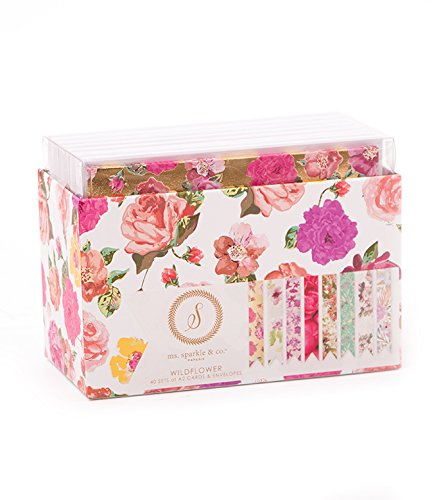 American Crafts Ms. Sparkle & Co. Paperie 4.25'' x 5.5'' A2 Cards & Envelopes - Wildflower - Set of 40