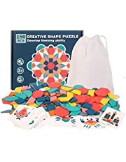 3D Mechanical Puzzles Jigsaw Puzzle - Children 180pcs Wooden 3D Puzzle Puzzle Board Baby Montessori Children's Educational Learning Toy Geometric Shape Puzzle Toy for Adults, Families, and Kids