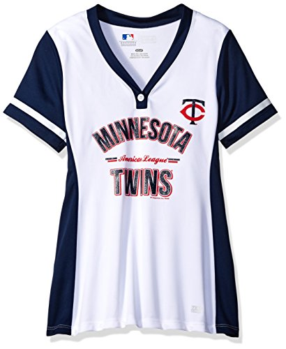 MLB Minnesota Twins Women's Team Name Rugged Competitor Pull Over Color Block Jersey, Small, White/Athletic (Minnesota Twins Player)