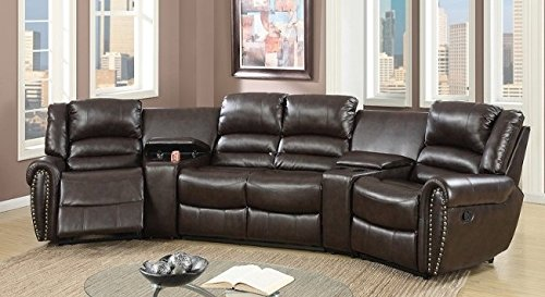 Poundex F6748 Ginevra Brown Bonded Leather Motion Home Theater
