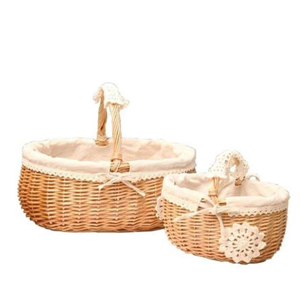 QINRUIKUANGSHAN Vintage Towel Basket Cake Box Rattan Storage Grocery Shopping Basket, Picnic Basket Flower Blue Orchard Bread Basket Bread Basket, (Color : Natural, Size : 251913cm) by QINRUIKUANGSHAN