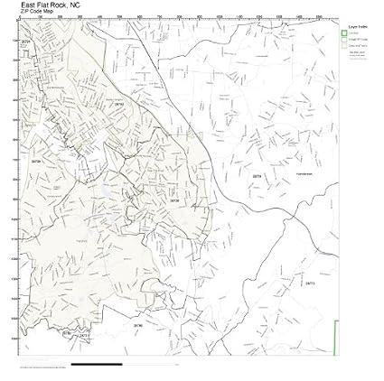 Amazon Com Zip Code Wall Map Of East Flat Rock Nc Zip Code Map
