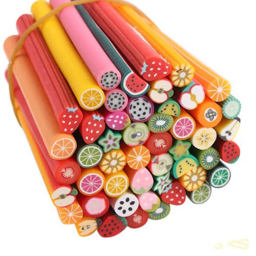 Yosoo 50 Pcs Nail Art Stickers Clay Canes Rod Polymer Sticks Decoration Fruit Flower Candy Nails DIY Tools (Fruit)