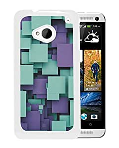 Unique Designed Cover Case For HTC ONE M7 With Quare Party Purple Pattern Wallpaper (2) Phone Case