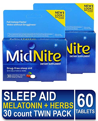 MidNite Natural Sleep Supplement, 30 Chewable Cherry-Flavored Tablets (2 Count) Natural Non-Habit Forming, Sleep Aid, Melatonin Supplement
