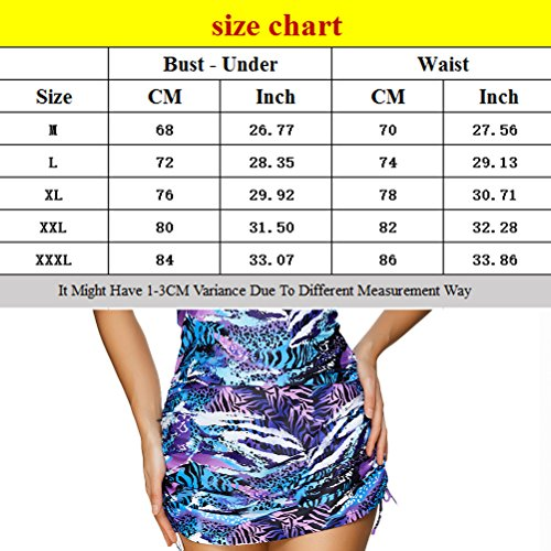 Zhhlinyuan 2 Pieces natación Swimwear Fashion Womens Retro Printing Swimsuits Multicolor