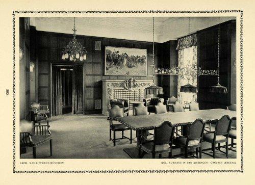 1913 Print Reading Room Table Chair Meeting Interior Design Max Littmann German - Original Halftone Print