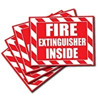 Wrapco (4 Pack) Fire Extinguisher Inside Sticker Decal Sign Self Adhesive for Trucks or Equipment
