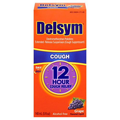 Delsym Adult Cough Suppressant Liquid, Grape Flavor, 5 Ounce (Pack of 12)