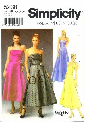 Simplicity 5238 Sewing Pattern Misses Jessica McClintock Prom Evening Dress Size 8 - 14 - Bust 31 1/2 - 36 (Dress For Sewing Prom Patterns)