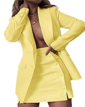 dahuo Conjunto de Falda para Mujer Blazer + Faldas 2 Piezas de ...