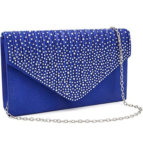 Milisente Clutch Purses for Women evening Glitter Wedding Purse Crystal Envelope Clutches Shoulder Bags (Royal - Bridal Satin Clutch