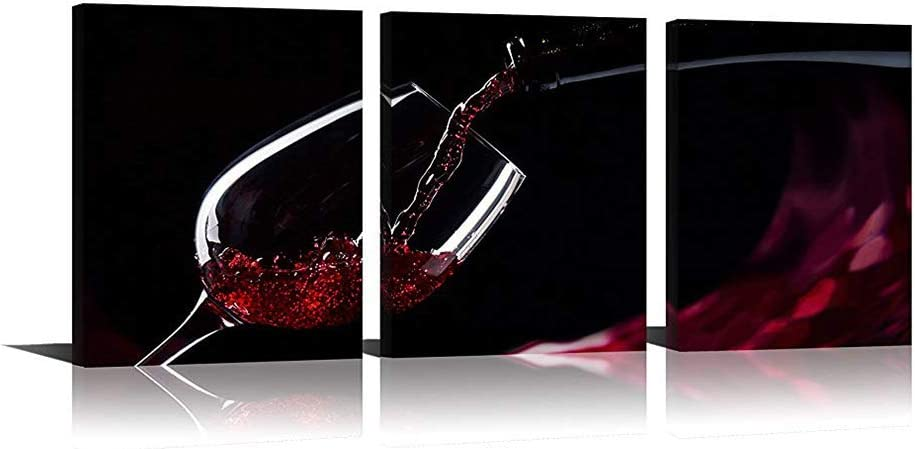 Youk-art Red Wine Wall Art Multi Picture Paintings Print On Canvas For Kitchen And Living room Any Room Decor
