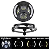 """SKTYANTS 7""""/7 inch Round Headlight LED Daymaker Headlights Hi/Lo Beam with DRL Turn Signal Lights Motorcycle with Bracket Ring for Harley Davidsion"""