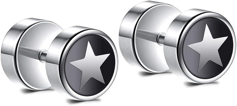 pair Stainless Steel 3 Color Star of David Circle Stud Earrings